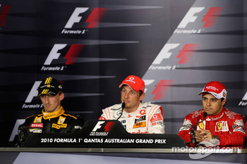 Post-race press conference: race winner Jenson Button, McLaren Mercedes, second place Robert Kubica, Renault F1 Team, third place Felipe Massa, Scuderia Ferrari
