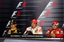 Post-race press conference: race winner Jenson Button, McLaren Mercedes, second place Robert Kubica, Renault F1 Team, third place Felipe Massa, Scuderia Ferrari