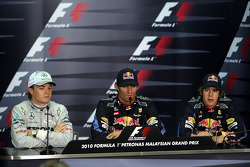 Pole winner Mark Webber, Red Bull Racing, second place Nico Rosberg, Mercedes GP, third place Sebastian Vettel, Red Bull Racing
