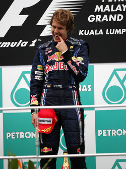 Podium: race winner Sebastian Vettel, Red Bull Racing