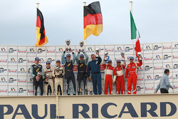 LMGT2 podium: class winners Marc Lieb and Richard Lietz, second place Martin Ragginger, Christian Ried and Patrick Long, third place Giancarlo Fisichella, Toni Vilander and Jean Alesi