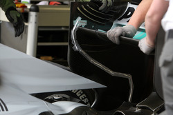 A wire running at the rear of Michael Schumacher, Mercedes GP