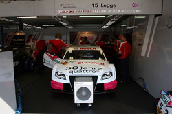 Garage and car of Katherine Legge, Audi Sport Team Rosberg, Audi A4 DTM