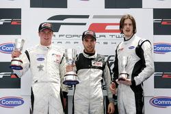 Podium: Second placed Dean Stoneman, race winner Philipp Eng and third placed Will Bratt