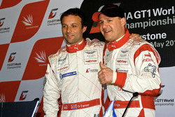 Pole winner Darren Turner with teammate Tomas Enge