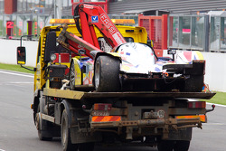 #4 Team Oreca Matmut Peugeot 908 HDi-FAP back on the platform truck after the race