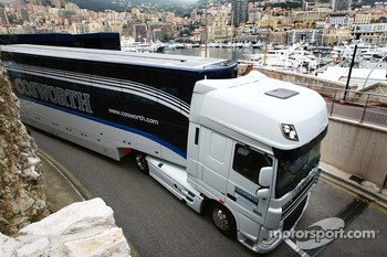 The Cosworth truck arrives at the Monaco circuit