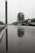 Rain washes over the track