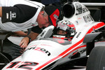 Will Power, Verizon Team Penske receives qualifying instructions from Brian Barnhardt, President of Competition & Racing Operations