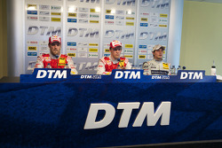 Post-race press conference: race winner Mattias Ekström, Audi Sport Team Abt, second place Martin Tomczyk, Audi Sport Team Abt, third place Bruno Spengler, Team HWA AMG Mercedes