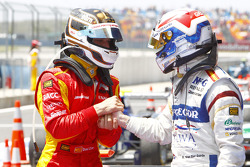 Dani Clos celebrates his victory with Giedo Van der Garde in parc ferme