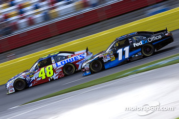 Denny Hamlin, Joe Gibbs Racing Toyota and Jimmie Johnson, Hendrick Motorsports Chevrolet