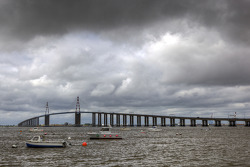 Visit of Brittany: Saint-Nazaire bridge over the Loire