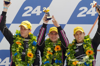 LMP2 podium: second place Matthieu Lahaye, Guillaume Moreau and Jan Charouz