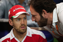 Sebastian Vettel, Ferrari with Matteo Bonciani, FIA Media Delegate in the FIA Press Conference