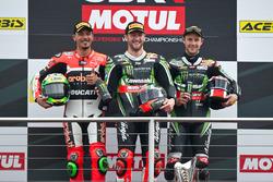 Podium : race winner Tom Sykes, Kawasaki Racing Team, second placeDavide Giugliano, Aruba.it Racing - Ducati Team, third place Jonathan Rea, Kawasaki Racing Team