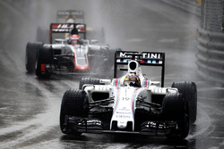 Felipe Massa, Williams FW38, leads Romain Grosjean, Haas VF-16 Ferrari