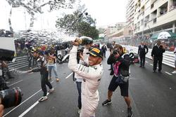 Race winner Lewis Hamilton, Mercedes AMG F1 celebrates at the podium