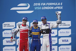 Podium: Race winner Nicolas Prost, Renault e.Dams; second place Bruno Senna, Mahindra Racing; third place Jean-Eric Vergne, DS Virgin Racing