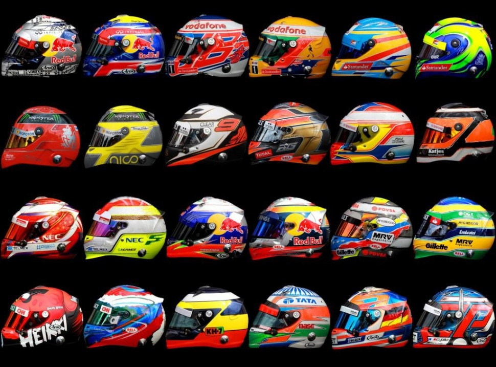 2012 f1 driver helments