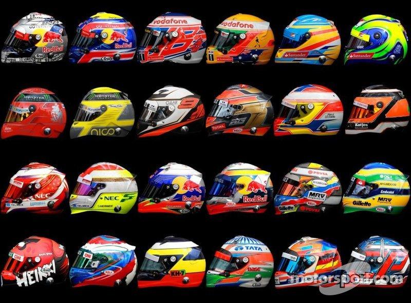 2012 f1 driver helments