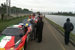 Waiting by the water for the next practice session to begin