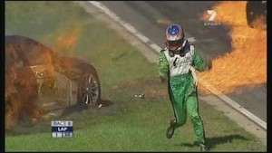 V8 Supercars huge crash between Karl Reindler and Steve Owen
