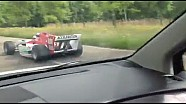 Jos Verstappen drives an A1GP car in the Lelystad traffic