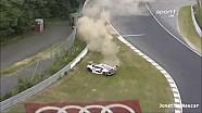 Nurburgring 24: Audi hits armco hard (Marc Basseng)