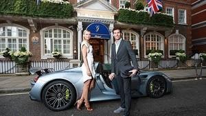 Maria Sharapova driven to Pre-Wimbledon party in a Porsche 918 Spyder