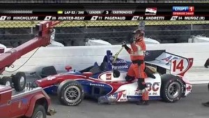 Mikhail Aleshin and Takuma Sato crash during the Iowa race