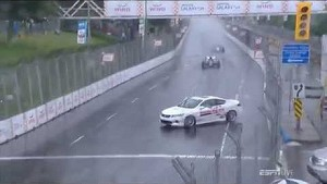 Arie Luyendyk wrecks pace car - 2014 IndyCar Toronto (English)