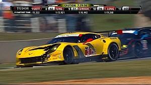 Porsche, Ferrari, and Corvette wreck on pit lane