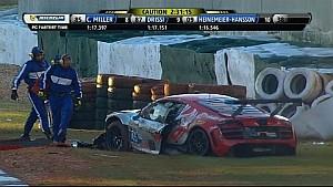 Audi driver Spencer Pumpelly crashes hard into barrier  - 2014 TUDOR Championship