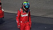Kyle Busch walks away after wreck with Brian Scott