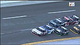 Wild finish: Logano crashes hard