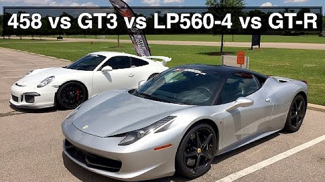ferrari 458 vs porsche gt3 vs lamborghini gallardo vs nissan gt r engineering explained. Black Bedroom Furniture Sets. Home Design Ideas