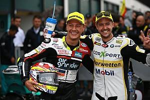 Moto2 Raceverslag Aegerter klopt Luthi in de regen op Misano, crash Morbidelli