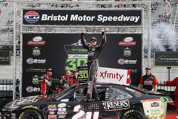NASCAR XFINITY Erik Jones moves Ryan Blaney and takes Xfinity win at Bristol