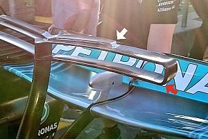 Mercedes: la T-wing della W08 è già diventata un triplano!