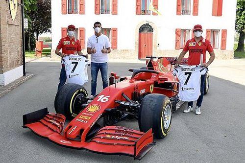 Cristiano Ronaldo visita a Ferrari, Sainz y Leclerc en Maranello