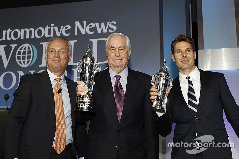 "Indy 500 winners Power, Penske receive their ""Baby Borgs"""