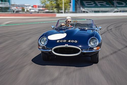 Damon Hill drives father's E-Type in 60th anniversary celebrations