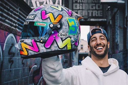 Ricciardo shows off bold new helmet design