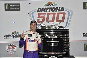 Denny Hamlin visits New York after winning 500