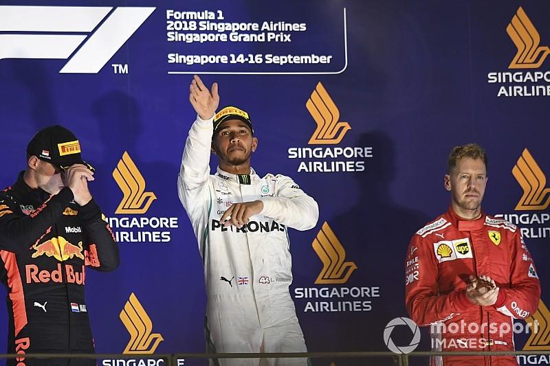 新加坡大奖赛:汉密尔顿从容领跑获胜,法拉利策略再出错