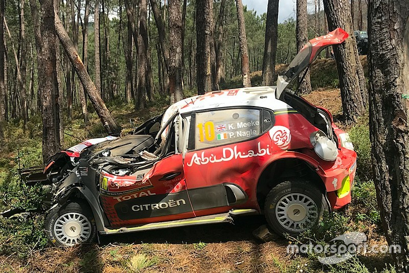meeke grateful to citroen after huge portugal crash. Black Bedroom Furniture Sets. Home Design Ideas