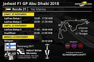 Jadwal lengkap F1 GP Abu Dhabi 2018