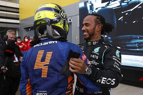 Course - 100e victoire pour Hamilton, qui vainc Norris sous la pluie