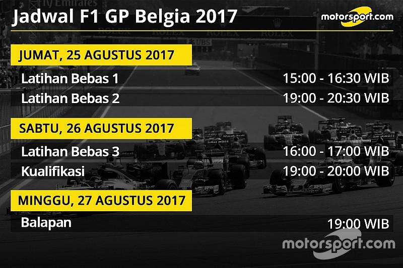 Jadwal lengkap F1 GP Belgia 2017
